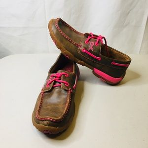 Twisted X Boots Pink Moccasins Shoes 7 M